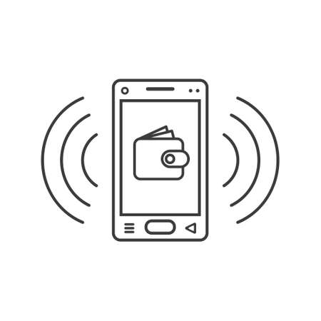 black and white line art smartphone icon with wallet sign and wave waves Vektoros illusztráció