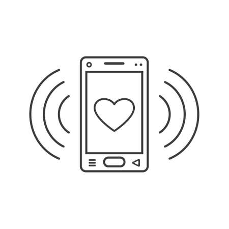 black and white line art ringing smartphone icon with a heart sign and wave waves Illustration