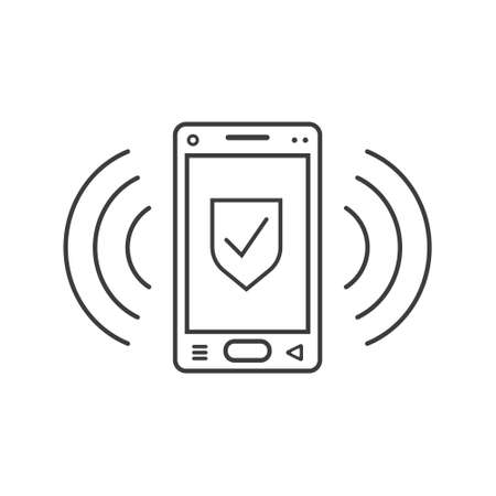black and white line art ringing smartphone icon with shield sign and wave waves Vektoros illusztráció