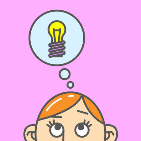 Colored flat art cartoon illustration of a thought about a light bulb