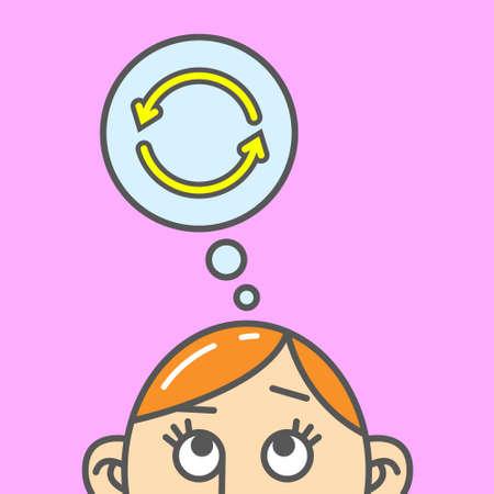Illustration de dessin animé couleur plat art d'une pensée de flèches de renouvellement