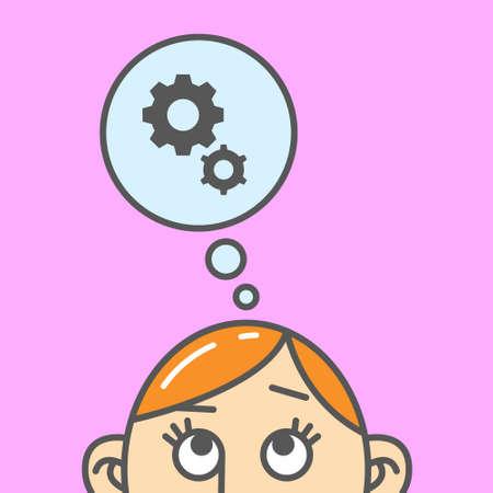 Color flat art cartoon illustration of thinking gears