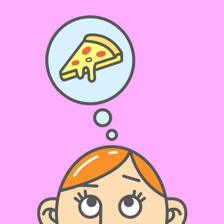 Color flat art cartoon illustration of the thought of pizza slice Vektorové ilustrace
