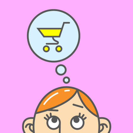 Color flat art cartoon illustration of the thought of shopping trolley