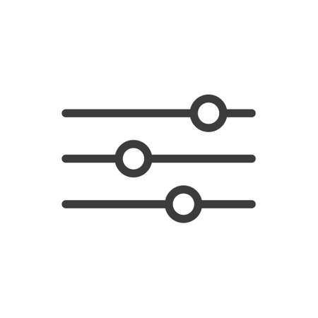 Black and white line art icon of horizontal adjustment knobs