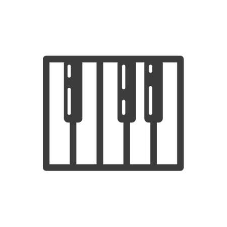 Black and white simple vector line art piano key icon Illustration