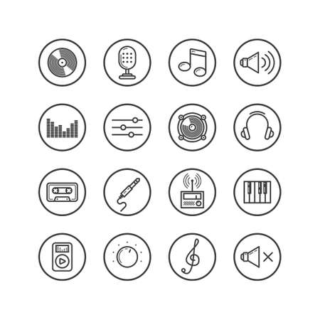 Set of black and white simple vector line art icons on music theme in a round frame