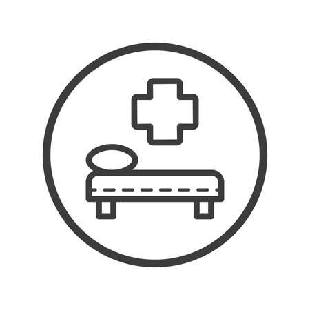 Black and white line art medical bunk icon in round frame Çizim