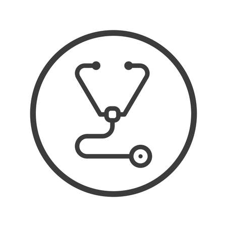 Black and white line art stethoscope icon in the round frame