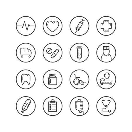 Ensemble d'icônes d'art ligne isolé noir et blanc sur le thème de la médecine dans un cadre rond Vecteurs