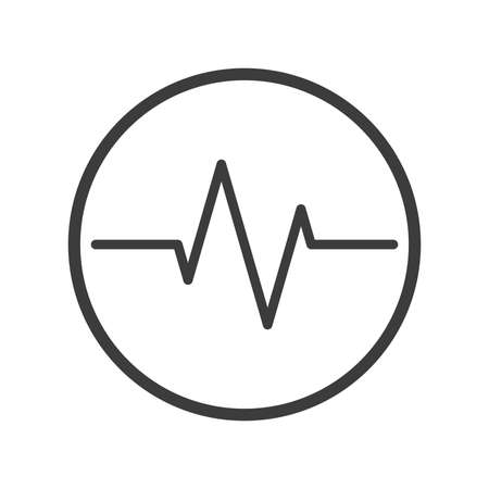 Black and white line art heart rate icon in the round frame Çizim