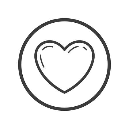Black and white line art heart icon in the round frame Illustration
