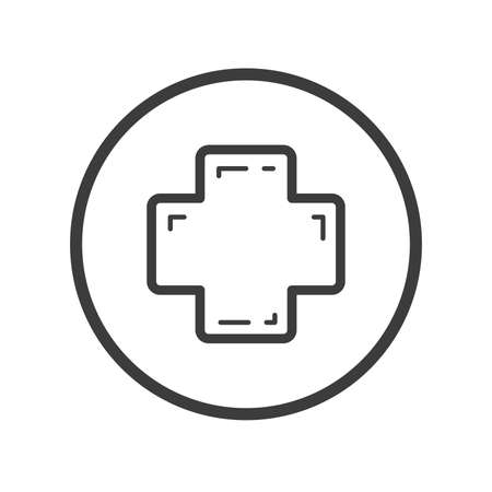 Black and white line art icon of medical cross in the round frame