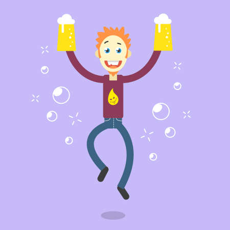 Colorful vector cartoon illustration of a happy guy with beer glasses