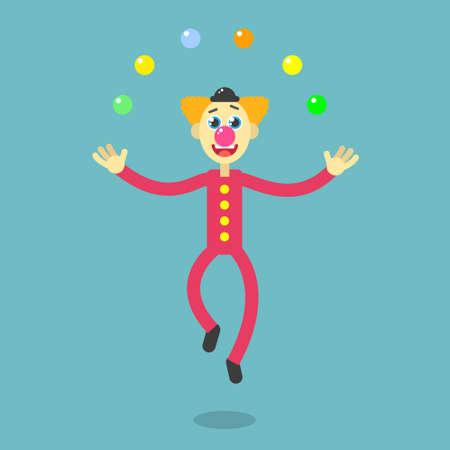 Colorful flat art vector cartoon illustration of a dancing clown