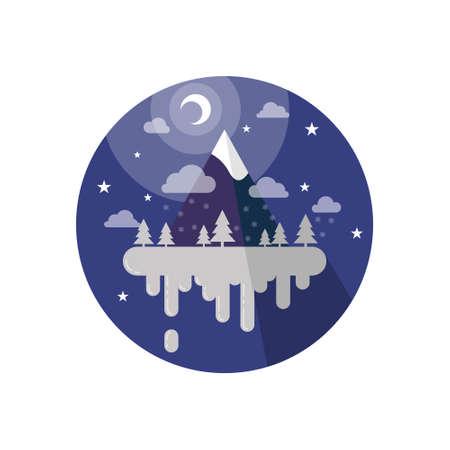 colored cartoon illustration of a plane flying night Winter Island