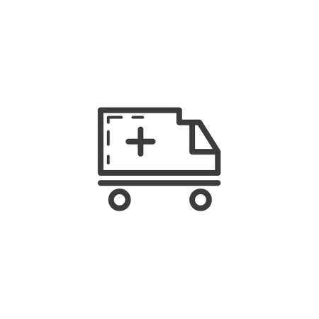 black and white simple vector line art outline ambulance aid icon