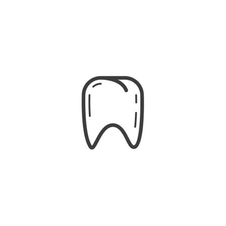 black and white simple vector line art outline healthy tooth icon Foto de archivo - 106853847