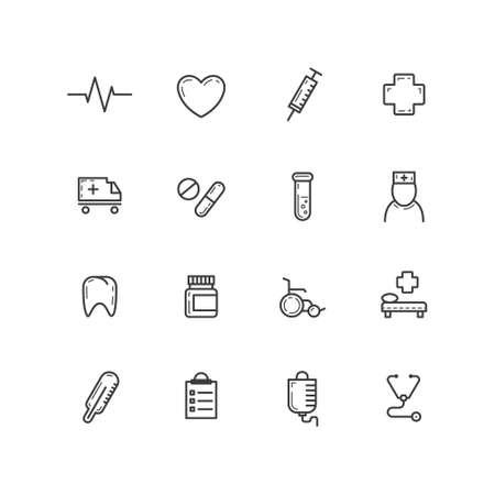 Ensemble d & # 39; icônes de santé médicale de contour de vecteur simple noir et blanc Vecteurs