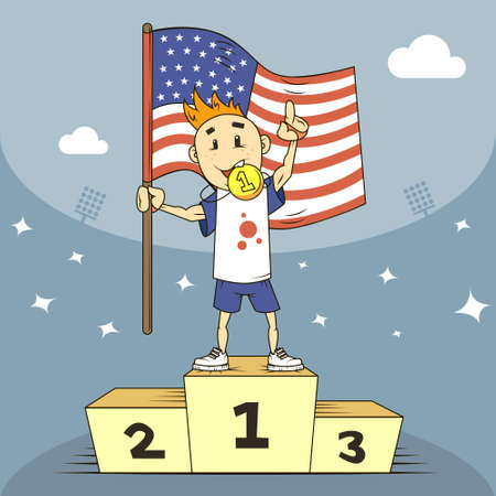 colored cartoon illustration champion of the United States on the podium with flag in his hand