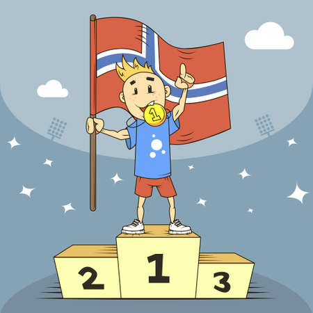 colored cartoon flat art illustration of Norway champion with flag in his hand