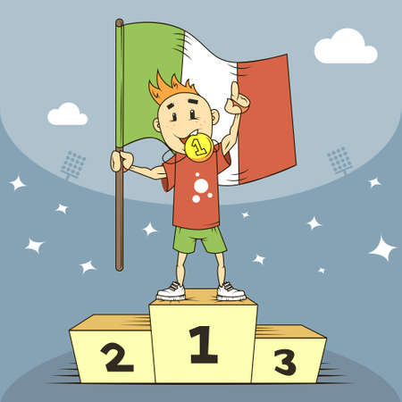 colored cartoon illustration champion of Italy in the first place of the podium with flag in hand Vector Illustration