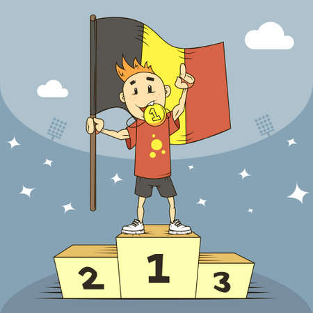 colored cartoon illustration champion of Belgium in the first place with the flag