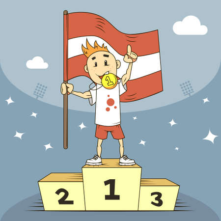 colored cartoon illustration champion of Latvia with a gold award Vectores