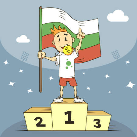 colored cartoon illustration champion of Bulgaria medal and flag in his hand Ilustração