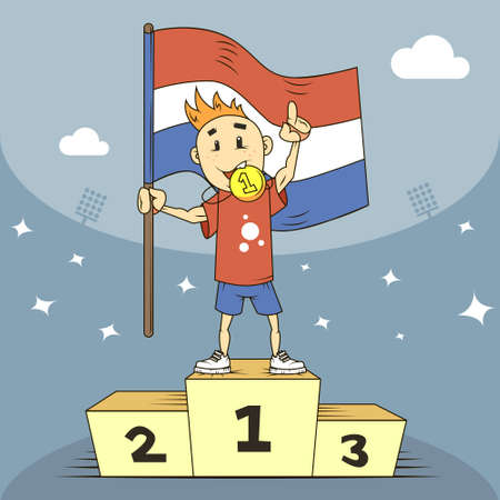 colored cartoon illustration champion of Netherland with a gold medal and a flag in his hand