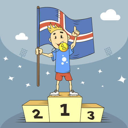 colored cartoon illustration champion of Iceland in the blue shirt