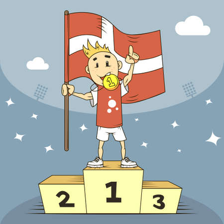 colored cartoon illustration Champion of Denmark with flag in his hand