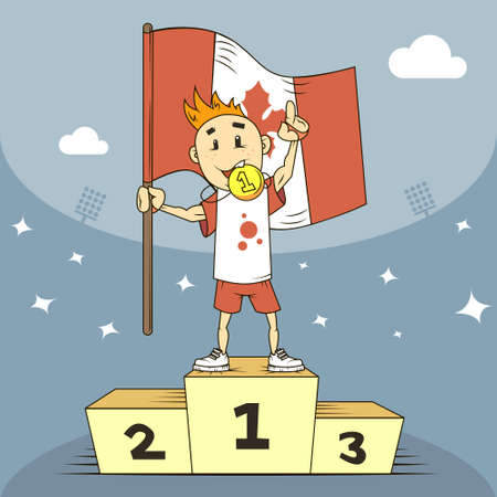 colored cartoon illustration champion of Canada on the podium with the flag in his hand