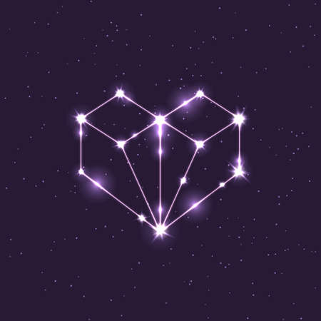 colored constellation illustration in the shape of a heart in space 向量圖像