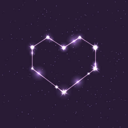 colored vector constellation illustration in the shape of a heart in the space