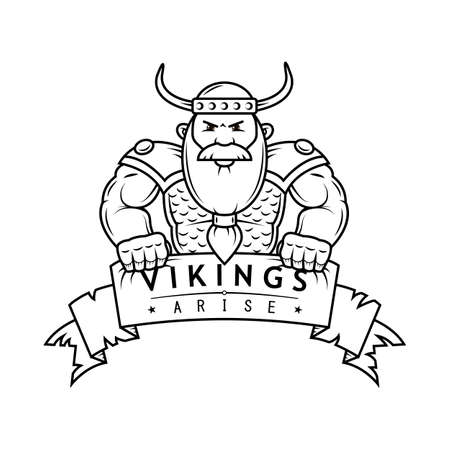 black and white illustration of cartoon Viking with banner