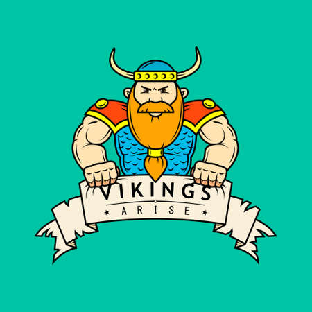 colored flat art illustration of cartoon Viking with banner