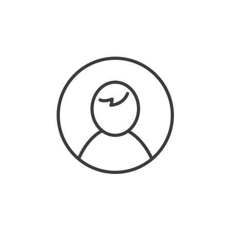 Black and white simple line art user icon in a round frame