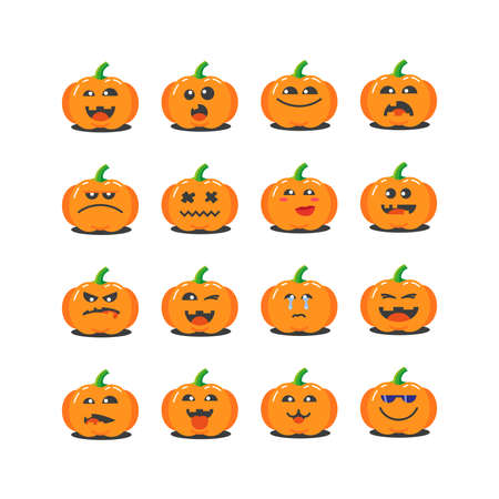 set of colored cartoon pumpkins icons for Halloween with different emotions 向量圖像