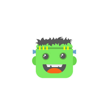 color simple vector flat art square cartoon icon of Frankenstein or zombie face Illustration