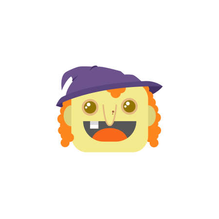 color simple vector flat art square cartoon witch face icon