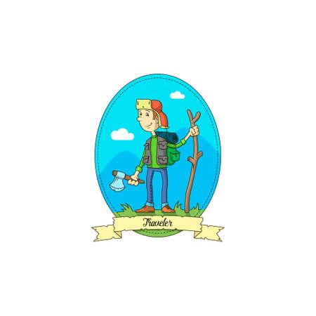 Kolor proste ilustracji wektorowych podróżnika kreskówki z siekierą