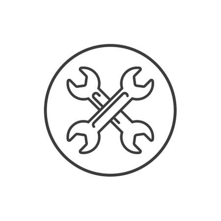 Black and white simple vector line art icon of crossed spanners in the round frame