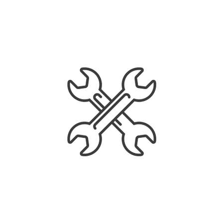 black and white simple vector outline line art icon of crossed spanners
