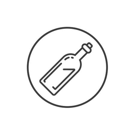Black and white simple vector line art icon of a bottle in the round frame Иллюстрация