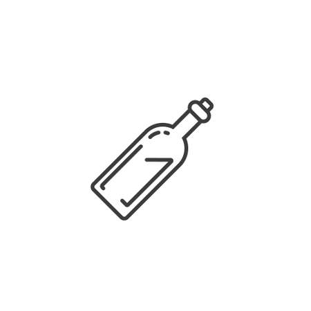Black and white simple vector outline line art icon of bottle