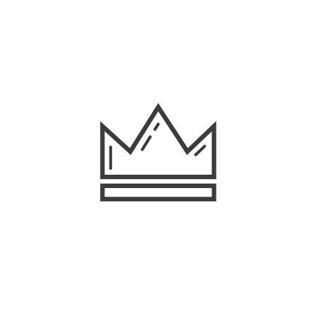 Black and white simple vector outline line art icon of crown