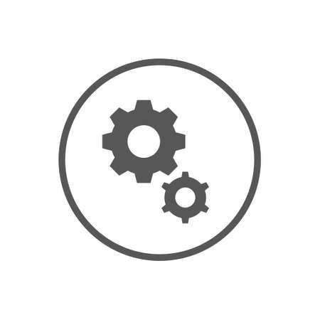 Black and white simple vector flat art icon of two gears in the round frame