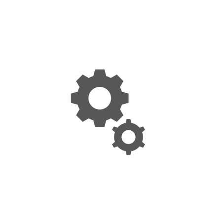 Black and white simple vector flat art outline icon of two gears