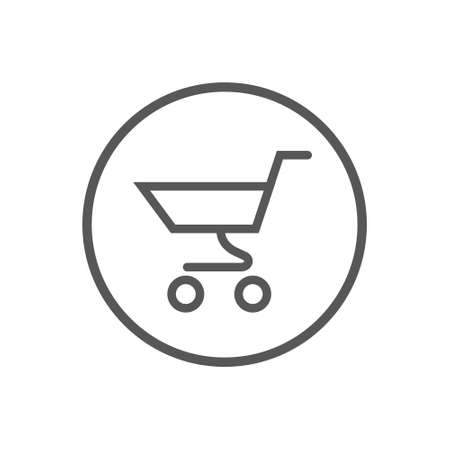 Black and white simple vector line art icon of supermarket trolley in a round frame Illustration